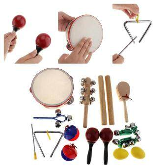 16pcs/lot Musical Instruments Set 10 Kinds Kindergarten KidsTambourine Drum Percussion Toys for Children / Baby / EarlyEducation