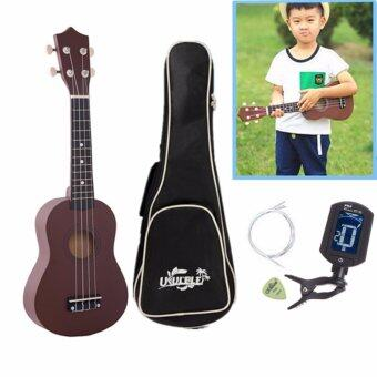 21 inch Ukulele Hawaii Four String Guitar + Bag +Tuner + String + Pick (Coffee)