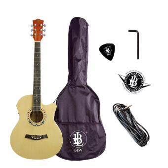 BLW 40 Inch Acoustic Electric Guitar with Pre Amp 4 EqualizerPackage with BLW Guitar Bag, Cable PIck and Merchandise Sticker(Natural)