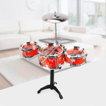 Children Kids Small Jazz Drum Set Toy Gift Puzzle EarlyIntelligence Educational Percussion Musical Instrument Playset(Red)