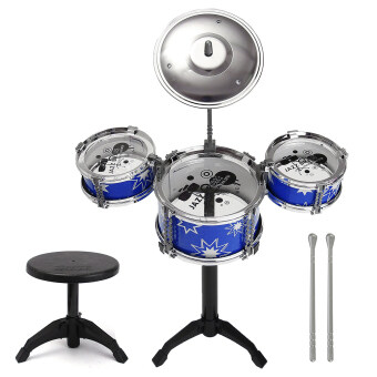 Media, Music Books Musical Fun For Kids Children'S Early ChildhoodMusic Enlightenment Toy Drums Percussion Drums Simulation Fun JazzDrum Mini Musical Instrument Sets Blue With Chair