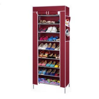 10 Tier Shoe Rack With Dust Cover Red Lazada Malaysia