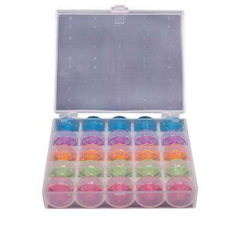 25 Grid Clear Storage Case With 25Pcs Empty Plastic Bobbins Spool -