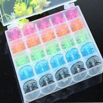 25 Pcs/Set Empty Bobbins Sewing Machine Spools Colorful PlasticCase Storage Box for Sewing Machine