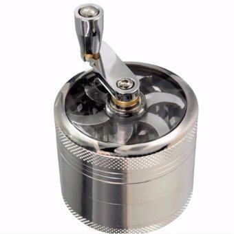 Hanyu 4 Layers Alloy Hand Crank Herbal Herb Tobacco Grinder SpiceCrusher 55mm Silver