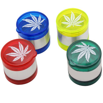Leaf Pattern Plastic Herbal Herb Tobacco Grinder Smoke Crusher Hand5 layer