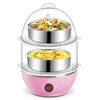 Multi-Function 2-Layer Electric Food and Egg Cooker/ Boilers &Steamer (Pink)