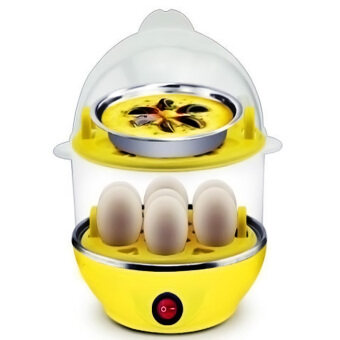Multi-Function 2-Layer Electric Food and Egg Cooker/ Boilers &Steamer (Yellow)