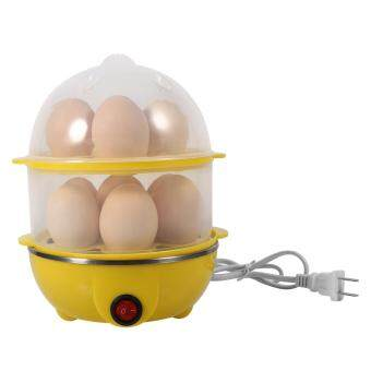 Multi-functional Double-Layer Eggs Cooker Steamer Home KitchenUse(Yellow)