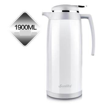 Stainless Steel Thermos Flask 1.9L Vacuum Insulation Kettle CoffeeTea Pot Hot Water Bottle Insulation Pot Chinese Insulation Cup(White)
