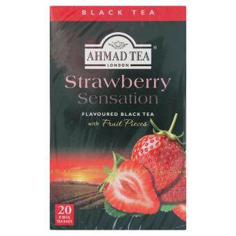 Ahmad Tea Strawberry Sensation Flavoured Black Tea with Fruit Pieces 20 Foil Tea Bags