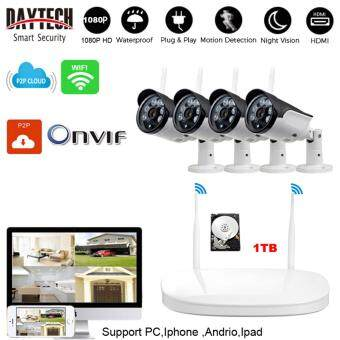 1080P Outdoor Wireless NVR Kit Wifi CCTV DVR Kit Wireless Network IP Security Camera System 4PCS 1.3 Megapixel Wireless Indoor/Outdoor Bullet IP Cameras,P2P,Superior Night Vision With1TB HDD