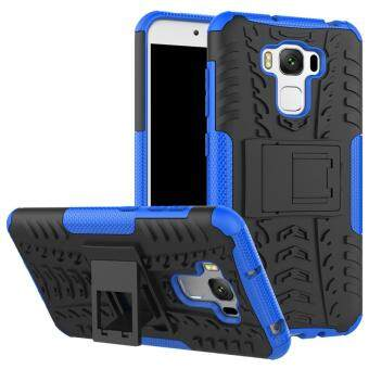 2-in-1 Tyre Pattern Hybrid PC + TPU Kickstand Cover Shell for AsusZenfone 3 Max ZC553KL - Blue