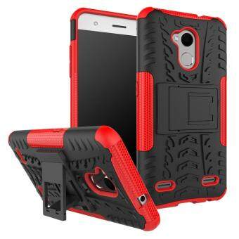 2-in-1 Tyre Pattern Kickstand Detachable PC + flexible TPUProtector Cover for ZTE Blade V6 Plus - Red