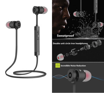Bluetooth headphone, Noise cancelling metal bluetooth wireless headphone high-quality sweatproof earphone sports running headset (Black)