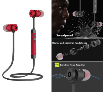 Bluetooth headphone, Noise cancelling metal bluetooth wireless headphone high-quality sweatproof earphone sports running headset(Red)