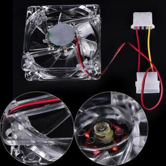 Brand Quad 4-LED Light Neon Clear 80mm PC Computer Case Cooling FanMod Best Sell ular for DIY 8*8cm