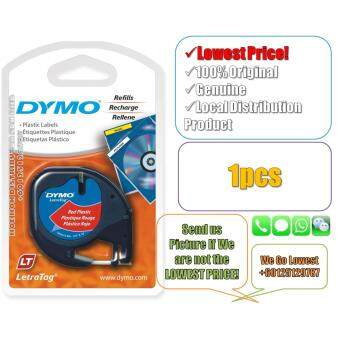 Dymo Letratag Label Maker Tape/Refill Plastic Red 12mm x 4m(Original) Label Printer Refill