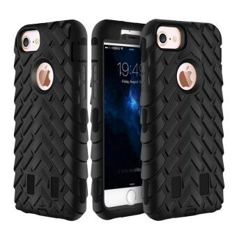 i4G Tire Dual Layer Silicone Hard Plastic Armor Hybrid Protection Plastic Case For Apple iPhone 5 / 5s Mobile Phone Back Cover(black)