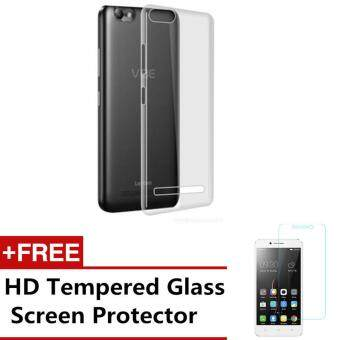 LENOVO VIBE C A2020 Clear Case Slim Transparent Soft TPU Cover WITHHD TEMPERED GLASS SCREEN PROTECTOR