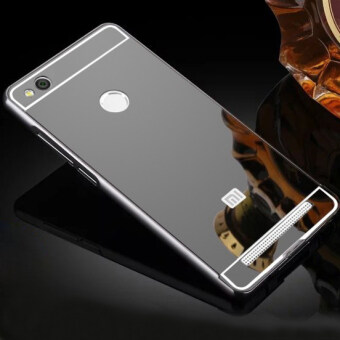 Luxury Aluminum Metal Hybrid Case Hard Mirror Protective Cover For Xiaomi Redmi 3 Pro 3s Red Mi 3s - Black