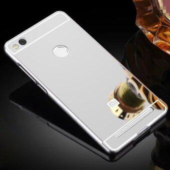 Luxury Aluminum Metal Hybrid Case Hard Mirror Protective Cover ForXiaomi Redmi 3 Pro 3s Red Mi 3s - Silver
