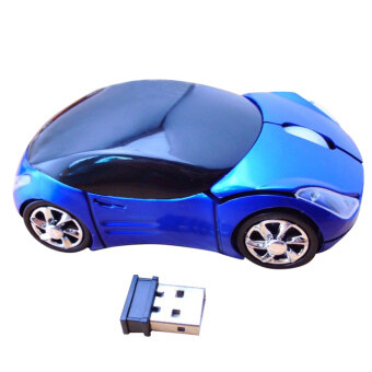 Moonar 3D Wireless 1600DPI Optical 2.4GHZ Car Shaped Mouse Mice Blue