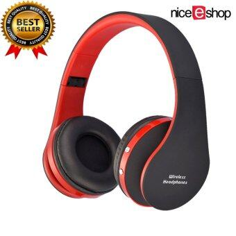 niceEshop Wireless Bluetooth Foldable Headset Stereo Headphone Earphone (Black Red)
