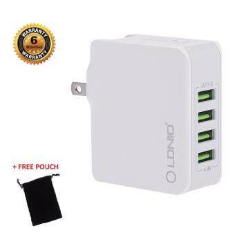 Original LDNIO 4 Fast USB Ports Travel Charger Travel Adapter /Plug (UK & US Socket) A4403 Free Pouch