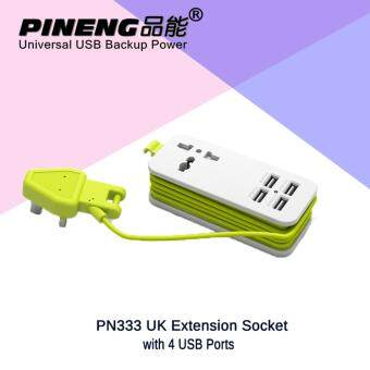Original Pineng PN333 UK Extension Socket with 4 USB Ports Travel Adapter Portable Charger For Iphone 6 7 Samsung Vivo Huawei Phone