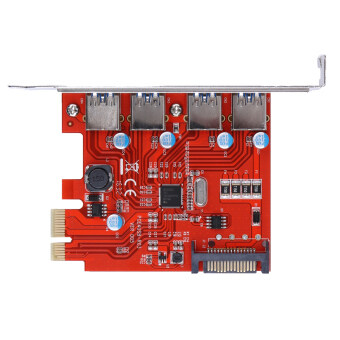 PCI-E to USB 3.0 4 Port PCI Express Expansion Card 15-Pin PowerConnector (Red)