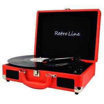 Retroline 3-Speed Portable Stereo Turntable with Built in Speakers, USB Vinyl-To-MP3 Record Player, Support RCA outpout, Headphone Jack, Aux input