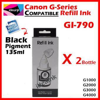 { Twin Black } Canon Compatible G Series Refill ink Bottle GI-790 790 GI790 G1000 / G2000 / G3000 / G4000 Printer