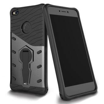 UEKNT Heavy Duty Rugged Armor Shockproof Case with 360 DegreeSwivel Rotating Kickstand Case for Huawei P8 Lite 2017 / HuaweiNova Lite (Black)