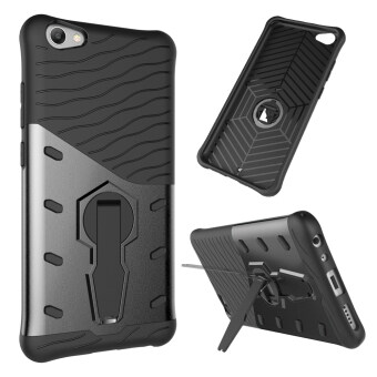 UEKNT Heavy Duty Rugged Armor Shockproof Case with 360 DegreeSwivel Rotating Kickstand Cover Case for Vivo V5s (Black)