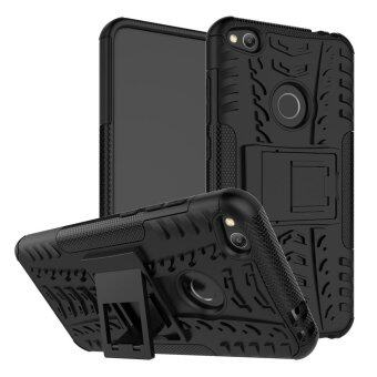 UEKNT Heavy Duty Rugged Hybrid Dual Layer Kickstand Shockproof CaseProtective Cover Case for Huawei P8 Lite 2017 / Huawei Nova Lite(Black)