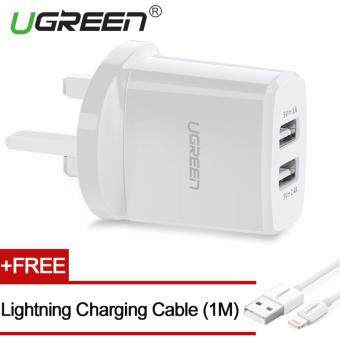 UGREEN 5V3.4A Universal Dual USB Wall Charger Travel Charger with1m Lightning Cable - UK,White