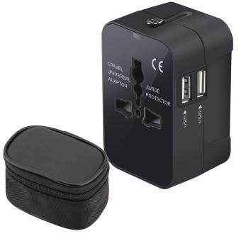 Universal World Travel Charger Dual USB Ports US To UK EU AU All InOne Worldwide Travel Power Adapter Safety Fuse Protection AdaptorInternational AC Wall Charger With Free Gift Bag for Storage-Black