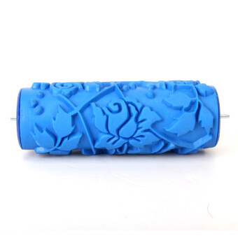 066Y DIY Floral and Dot Pattern Paint Roller for Wall Decoration (Blue)