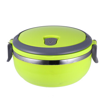 1 Layer Stainless Steel Portable Thermal Insulated Lunch Box FoodContainer(Green)
