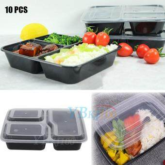 10pcs Meal Prep Containers Plastic Food Storage Microwavable 3 Compartment Lunch Box