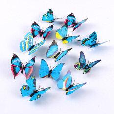 12pcs butterfly 3d fridge magnets art room wall decor crafts blue