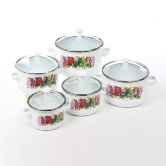 14/16/18/20/22CM enameled casserole cookware set with glass lid -10 piece
