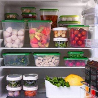 17pcs Sealed Crisper Refrigerator Plastic Food Storage BoxPreservation Box Container Kitchen Supplies (Green)