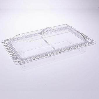 2 Compartment Acrylic Tray with Cover (Silver Geometric Edge)