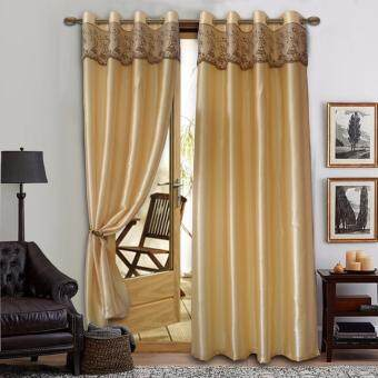 2 PIECES : Essina Eyelet Curtain 140cm(W) x 260cm(L) STELLA CREAM(Fit window/sliding door width from 150cm - 250cm)