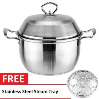20cm Two Tier Stainless Steel Steamer Stock Pot / Milk Pot /Cooking Pot With Lid FREE Stainless Steam Tray