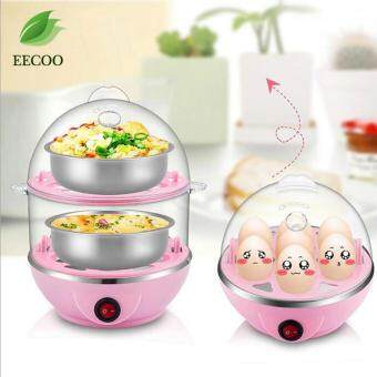 220V Multi-functional Electronic Eggs Boiling Cooker Double-Layer Kitchen Steamer (Pink)