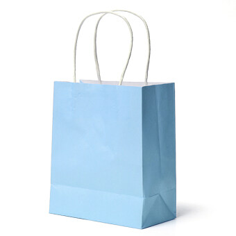 25Pcs Kraft Paper Gift Bag Handles Recyclable Loot Bag Blue