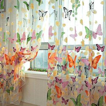 2PCS Floral Butterfly Sheer Curtains Sheers Voile Tulle Window ...